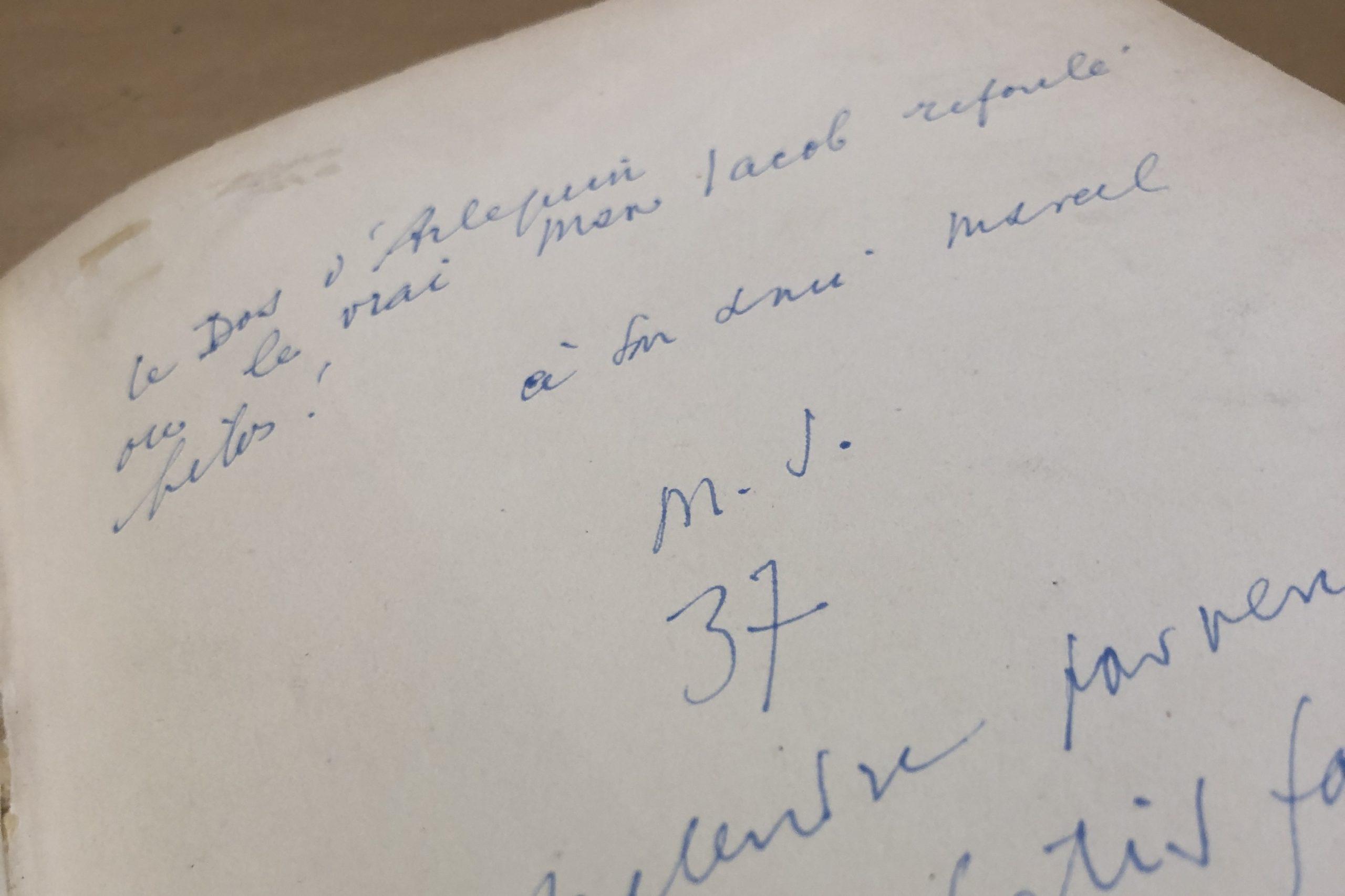 note autographe livre ancien auteur